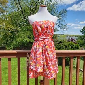 EXPRESS Strapless Floral Red Dress Size 8